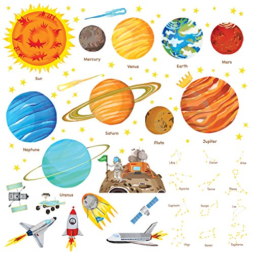 (Decowall DW-1501S The Solar System Kids Wall Stickers Wall Decals Peel and Stick Removable Wall Stickers for Kids Nursery Bedroom Living Room (Medium))