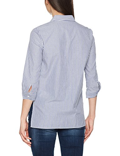 Only, Blusa para Mujer Multicolor (Cloud Dancer Aop:w. Blue Stripes And Embroidery As Wizz Shirt)