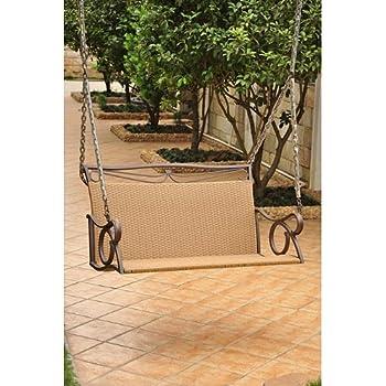Amazon Com Wicker Resin Steel Patio Porch Swing Porch