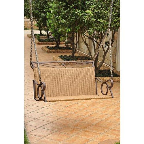 International Caravan Wicker Resin/Steel Patio Porch Swing