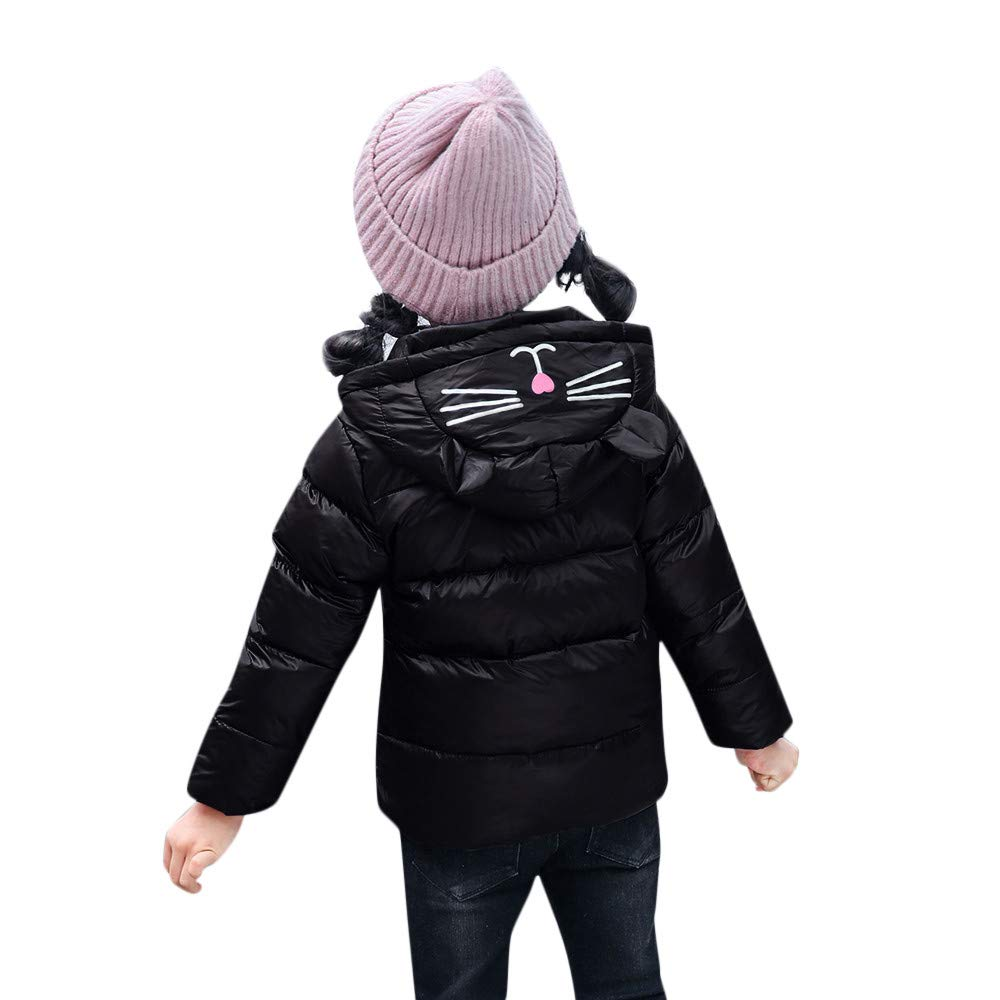 Lurryly Baby Girls Boys Kids Long Sleeve Coat Fur Hooded Jacket Long Outwear Fashion T Shirt❤Outerwear Clothes for Teens Jumpsuit for Girls Toddler Boy Clothes for Teen Girls❤Black❤❤Age:12-18 Months