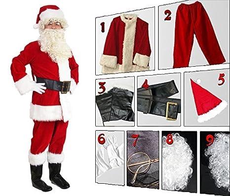 8d0b70452a8d7 Amazon.com  WHOBUY Men s Deluxe Santa Suit 10pc. Christmas Adult Santa  Claus  Clothing