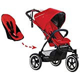 phil&teds Sport Inline Stroller - Second Seat Included (Cherry)