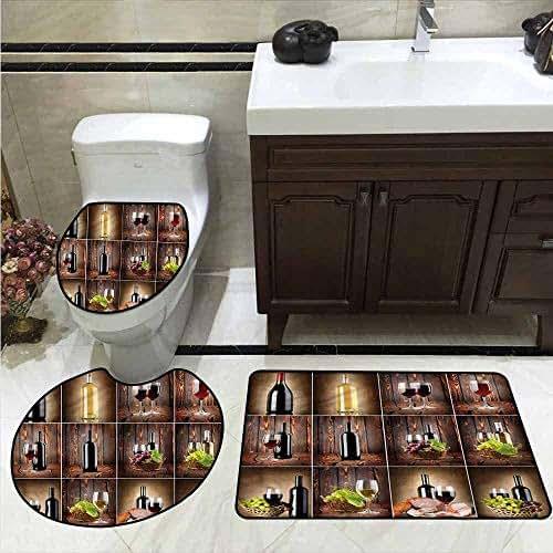 AndyTours Bathroom 3 Piece Rug Set,Wine,Grapes Meat Drink Collage,Non Slip Bath Shower Rug