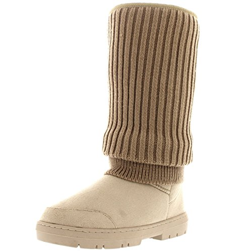 Womens Tall Gebreid Cardy Slouch Winter Snow Rain Outdoor Warm Shoe Boots Beige Gebreid
