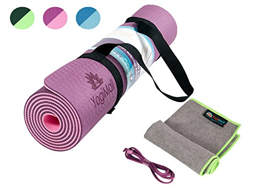 YogiMall 4-In-1 Non Slip Yoga Mat, Hand Towel Plus 2 Carry Straps – Eco Friendly, Reversible, Thick 6mm, SGS Certified High Density TPE Exercise Mat Set for Yoga, Pilates & More – LIMITED TIME OFFER