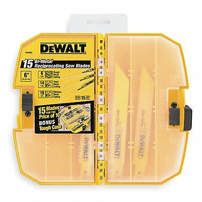 DeWalt® Bi-Metal Reciprocating Saw Blade Power Tools/Equipment Variety Pack 15 pc Clamshell