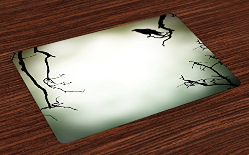 (Lunarable Horror House Place Mats Set of 4, Crow Bird on Leafless Branch Cemetery Death Spirit Animal Evil Raven Funeral, Washable Fabric Placemats for Dining Table, Standard Size, Sepia Black)