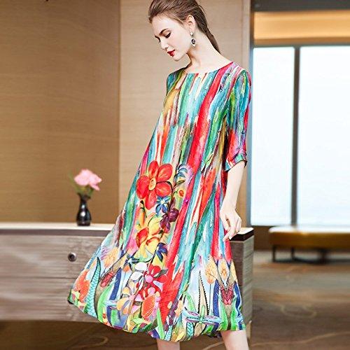 Robe XL Gueules t Manches Robe Rond Sept Modes de Large Longues Soie Longueur Femmes MiGMV col Robes Point Nouvelles imprim de 2018 mi FHRxBRw