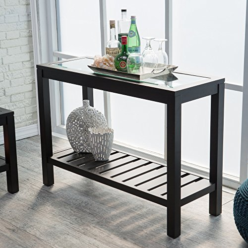 Bistro Console Tables Glass Top Slat Bottom Rectangle Wood Cocktail Living Room Table Modern Furniture Review