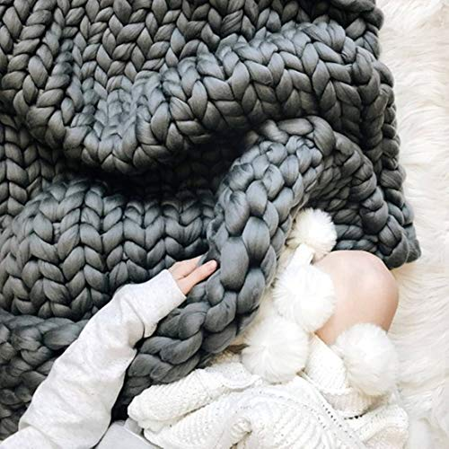 HomeModa Chunky Giant Knit Thick Yarn Blanket Bulky Knit, Extreme knitting Knitted Pet Bed Chair Sofa Yoga Mat Rug (40 x 60 inches- Standard Blanket, graphite) price tips cheap