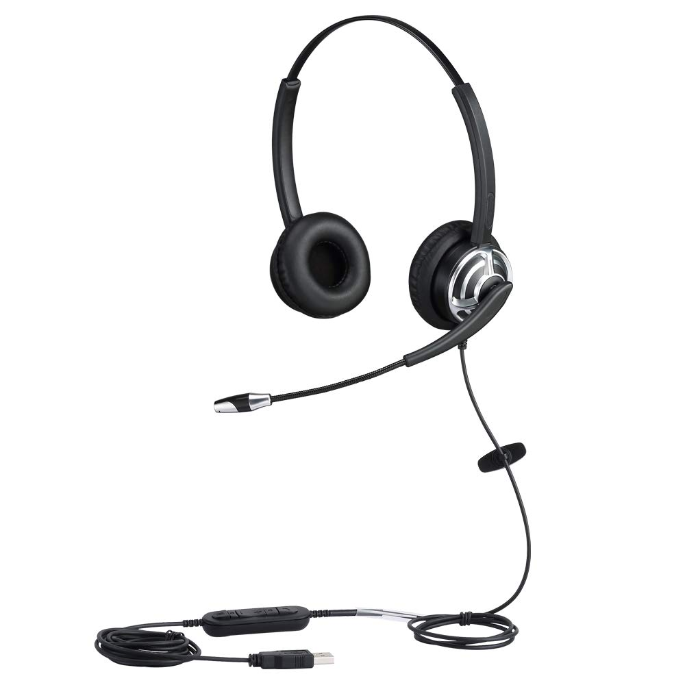 USB Corded Phone Headset Computer Headset with Microphone Dual Ear for Skype Chat Online Cources Conference Calls Voice Chat Softphones Gaming etc