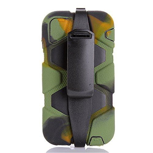 Generic for iphone 6 Plus Holster Case, Heavy Duty Defender Series Shock Absorption Tough Armor Impact Resistant Military Grade Rugged Hybrid Built-in Screen Protector Soft Silicon Case for iphone 6 Plus 5.5 Inch Only(not for iphone 6 Regular) (Camo)