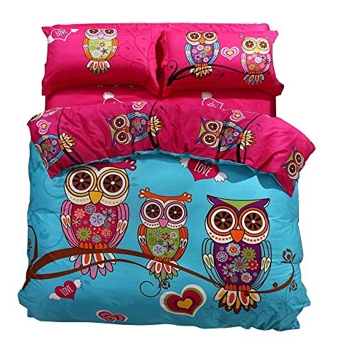 (HNNSI Full Size Cartoon Style Kids Girls Owls Bedding Sets 4 Pieces,100% Cotton AB Version Design Owls Girls Kids Duvet/Quit/Comforter Cover Sets, Soft Cozy Home Collections Bedding Sets(Full))