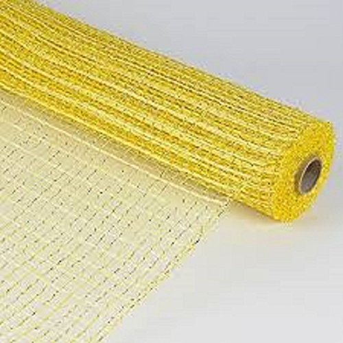 Metallic Oasis Deco Mesh Yellow with Gold Trim 21 inch x 10 Yards