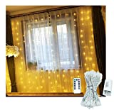 indoor icicle lights led - Battery Operated Curtain Window Lights with Remote Timer Bedroom Patio LED Curtain String Light Icicle Waterfall Lights for Outdoor Indoor (Warm White, 6.5 X 6.5ft, Dimmable)