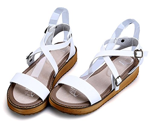 Ankle CAMSSOO Platform Gladiator Buckles Sandals White Toe Open Singback Strap Double Women's 4T4qCwH