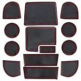 Subaru WRX Custom Doors - Sporthfish Non-Slip Anti-dust Custom Fit Cup, Door, Console Liner Accessories for Subaru WRX 2015 2016 2017 2018 2019 2020-13 pcs Set (Red)