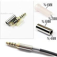 KetDirect 2Pcs Gold 4 Pole 3.5mm Male Repair headphone Jack Plug Metal Audio Soldering headset connector silver