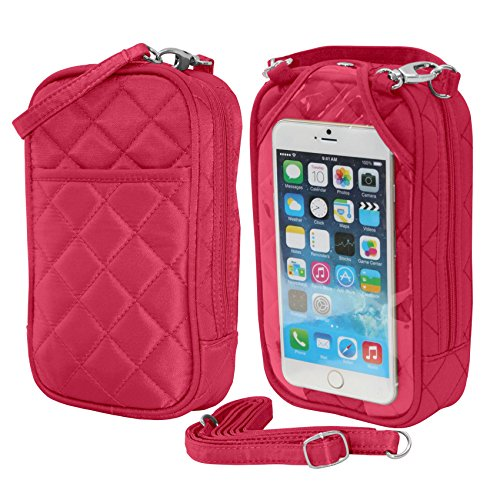 Crossbody Bag-Cell Phone Purse- Fuscia Quilt- Fits all phones-by -