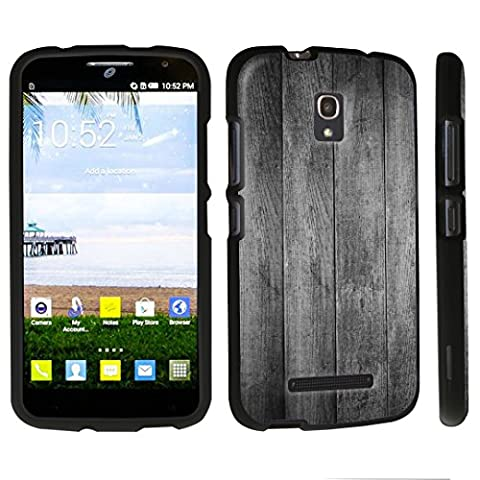 DuroCase ® Alcatel One Touch POP Mega LTE A995G Hard Case Black - (Vintage Black Wood) (Alcatel A995g Wallet Case)
