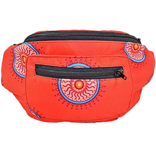 Acid Party Fanny Pack, Stylish Party Boho Chic Handmade with Hidden Pocket (Red Mandala) by Santa Playa