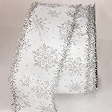 """Silver Glitter Tinsel Christmas Snowflakes Wired Craft Ribbon 3"""" x 20 Yards"""