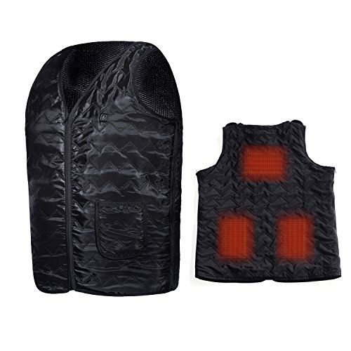Washable Heated Vest, Size Adjustable Powered by Battery Power Bank, 3 Heating Panels on The Back Black