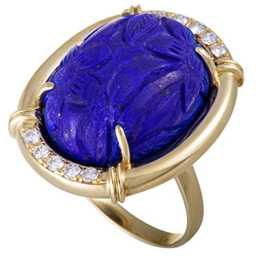 Luxury Bazaar 18K Yellow Gold Diamonds and Carved Lapis Ring