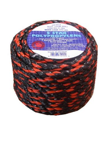 T.W Evans Cordage 31-122 3//8-Inch Evans Cordage Co. 100-Feet California Truck Rope Black and Orange Polypro Rope T.W