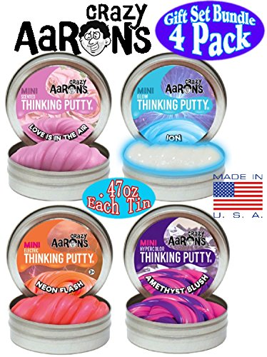Crazy Aaron's Thinking Putty Mini Tins (.47oz each) Neon Flash, Love is in the Air, Amethyst Blush & Ion Gift Set Bundle - 4 Pack