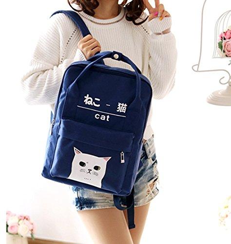 y coreano mujeres de estilo niñas japonés rosa Mochila lona Azul marino de y para wUpW0