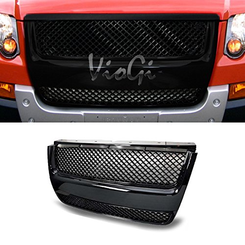 VioGi 1pc Glossy Black Strong ABS Plastic Badgeless Mesh Style Front Hood/Bumper Grille Fit 06-10 Ford Explorer / 07-10 Ford Explorer Sport Trac