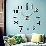 Wall Clocks Decorative Luxury DIY 3D Wall Clock Home Living Decor Large Chic Art Modern Hot Foam & Metal Black