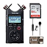 Tascam DR-40X Four-Track Audio Recorder/USB Audio Interface with 64GB Memory Card, Knox Clip-On Lavalier Microphone and Focus USB 2.0 Card Reader