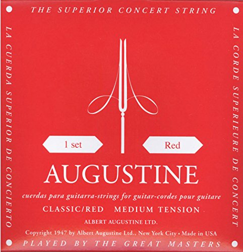 AUGUSTINE CLASSIC-RED MEDIUM TENSION CLASSICAL GUITAR (Acoustic Classical String Basses)