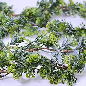 "WINDIY SUPLA 6.6' Long 4.3"" Wide Artificial Boxwood Greenery Garland Faux Boxwood Greenery Garland String Hanging Boxwood Twigs Vine Garland Table Runner for Spring Weddings Indoor Outdoor Décor 2"