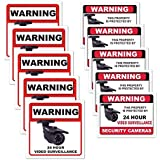 10 Pack - Weather Resistant Vinyl Security Stickers - Home & Business - Theft, Robbery, Vandalism & Shoplifting Prevention/Deterrent - 24 Hour Video Surveillance Stickers - CCTV, DVR, Camera System