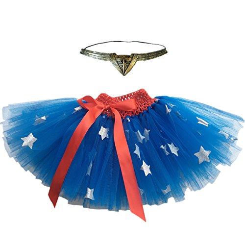Pretty Baby Girls Halloween Tutu Skirts with Headband Set (Blue with Star, 0-2T) -