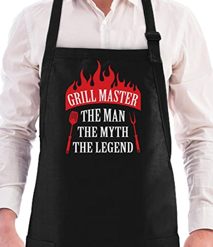 Gift for Men - Grill Master The Man The Myth The Legend Griller Gifts Father's Day/Birthday Gift for Dad, Grandad or Husband Funny BBQ Chef Apron One Size Black -