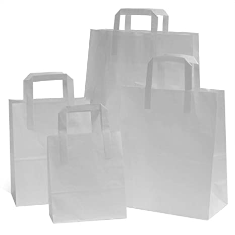Bolsas de papel Kraft, blancas, SOS, con asas planas 25 cm x ...