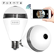 Pawaca Fisheye Lens Camera Bulb, Panoramic Fisheye Camera With LED Light, Security 360° HD Wide Angle Bulb Camera Real-time Monitoring and Two-way Intercom for Baby Pet Elderly Office Monitoring