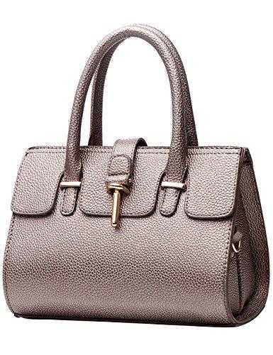 Menschwear Sac fourre-tout en cuir brillant Nouveau sac à bandoulière pour femme Noir Cuivre