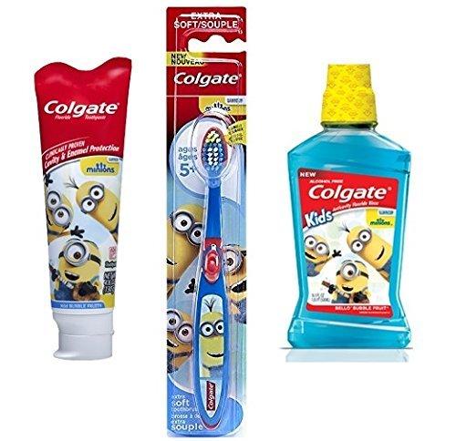 Minions Mouthwash & Toothpaste w/ BONUS Minion Toothbrush Value Bundle Set