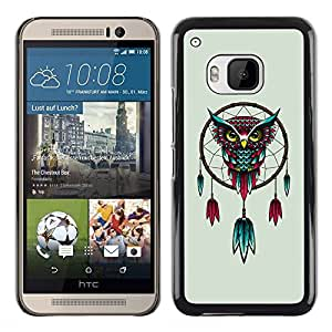 Planetar® ( Beautiful Red & Blue Mystical Owl Dream catcher ) HTC One M9 Fundas Cover Cubre Hard Case Cover