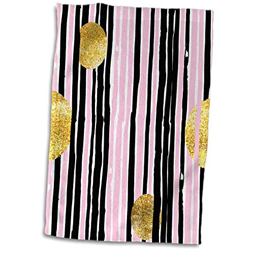 ugh - Patterns - Pink and Gray Hand Painted Stripes with Gold Circles - 15x22 Hand Towel (TWL_252978_1) ()