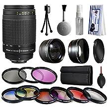 Nikon AF 70-300mm Manual Lens + Premium Accessories Kit includes 2.2x & 0.43x Adapters + 9 Filters for Nikon DF D7200 D7100 D7000 D5500 D5300 D5200 D5100 D5000 D3300 D3200 D3100 D3000 D300S D90 D60