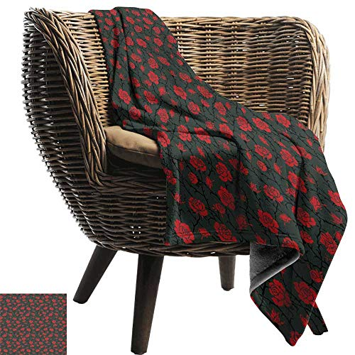 Super Soft Blanket Red and Black Rose Swirls Ivy Plants Dark Mysterious Forest Themed Pattern Sofa Warm Bed 70