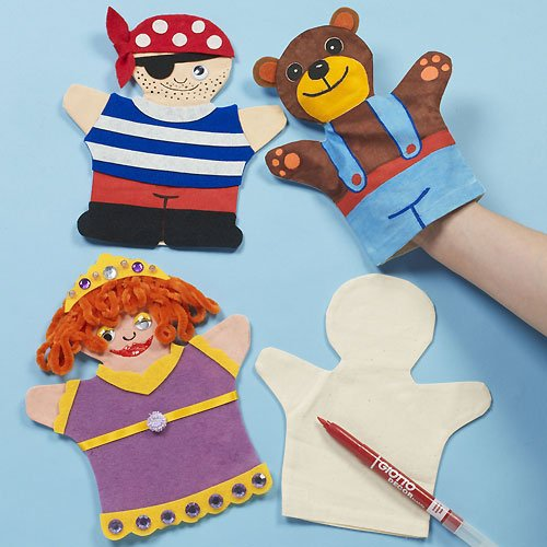 Baker Ross Fabric Hand Puppets for Children to Paint & Decorate for Puppet Shows (Pack of 6)
