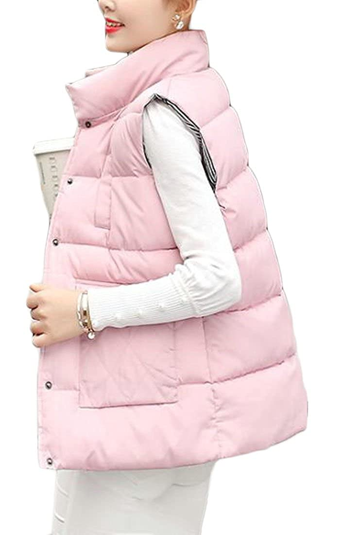 UUYUK-Women Plus Size Lightweight Quilted Puffer Vest Jacket Hooded Coat